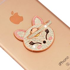 Rhinestone Luxury Fox Jewelry Display Wedding Rings Hook Stand for Mobile Phones Cell Phone Ring Holder Car for Samsung iphone
