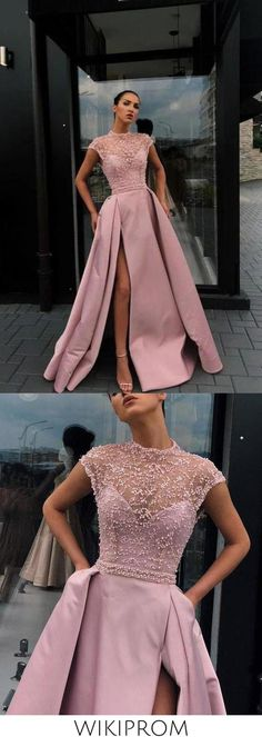 Charming High Neck Beading Satin Pink Cap Sleeves Prom Dresses with Split, Dance Dresses SWK15100, This dress could be custom made, there are no extra cost to do custom size and color High Low Prom Dresses, Prom Dresses With Sleeves, Cheap Prom Dresses, Dance Dresses, Formal Dresses, High Neck Formal Dress, Wedding Dresses, Sexy Dresses, Evening Dresses