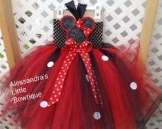 Red and black tutu dress with polka dots
