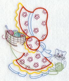 Redwork Embroidery Machine Embroidery Designs at Embroidery Library! Local Embroidery, Folk Embroidery, Hand Embroidery Designs, Cross Stitch Embroidery, Computerized Embroidery Machine, Sewing Machine Embroidery, Sunbonnet Sue, Just In Case, Quilt Patterns