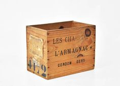 WOODEN WINE CRATE Box French Rustic Wood Bottle Storage Box French Country Cottage Farmhouse Decor Armagnac Liquor France