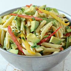 This Avocado Dijon Pasta Salad via @foodnessgracious is so easy to make, yet so delicious when the weather gets hot. 4th of July dish to share! #recipe #potluck