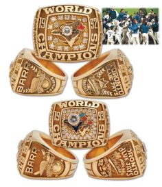 1992 and 1993 Toronto Blue Jays World Series Championship Gold and Diamond Rings Blue Jays World Series, Blue Jay Way, World Series Rings, Super Bowl Rings, Canada Eh, The Great White, Championship Rings, Baseball Stuff, Sport 2