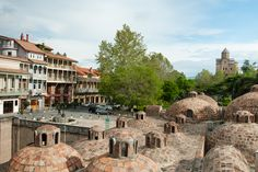 The famous sulfur baths are located under these picturesque domes in the Old Town of Tbilisi, Georgia. Travel Caucaus