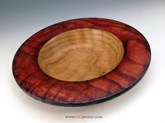 Red Rimmed Curly Oak Bowl. Hand crafted on the lathe by wood artisan Richard Dlugo. www.exqwood.com.