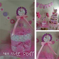 Cute Diaper Cake - Baby Shower - Nursery Gift - It's a Girl Theme