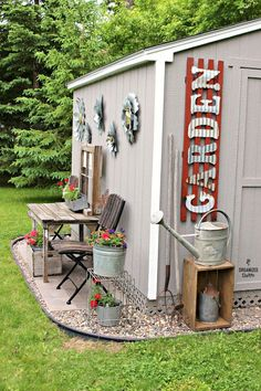 Bold Corrugated Letters on the Shed. Stenciled Message on a Whitewashed Garden G… - Diy Garden Decor İdeas Backyard Storage, Backyard Sheds, Backyard Studio, Rustic Backyard, Large Backyard, Outdoor Sheds, Outdoor Projects, Garden Projects, Outdoor Decor