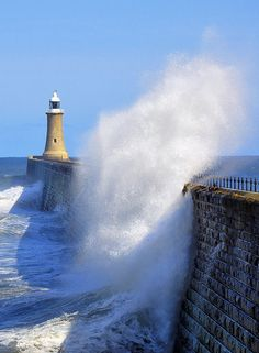 A blustery day at Tynemouth May The booming of the waves breaking on the pier could be heard from Tynemouth itself - not a day to be walking to the lighthouse! Lighthouse Lighting, Lighthouse Art, Costa, North Shields, Scenic Photography, Ciel, Newcastle, Places To See, Beautiful Places