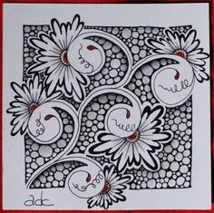 anneke's (anneke-merrygoround.blogspot.nl) tangle using henna drum pattern for i am the diva's challenge #130