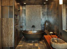 cuartos de baño de estilo rústico moderno
