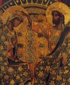 beautifully enhanced detail of Polyptych, detail Coronation of the Virgin by Paolo Veneziano. It's part of a panel that is part of an even larger piece