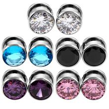 1Pair Crystal Zircon Ear Plug Tunnel Earring Cartilage Expanders Gauges Screw Flesh Plugs and Tunnels Piercing Body Jewelry(China)