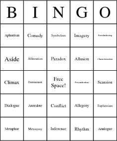 Students will be excited to learn literary devices with this BINGO game!