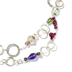 "Multigemstone Sterling Silver Circle-Link 36"" Necklace at HSN.com."