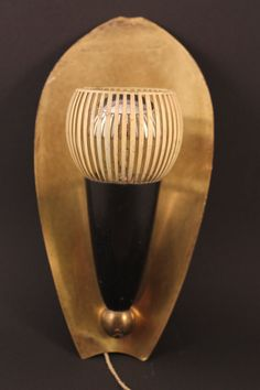 Beautiful Very Old Wall Lamp Sconce probably 1930s 30s Vintage Mategot Stilnovo Style Brass with pull switch Bauhaus Art Deco