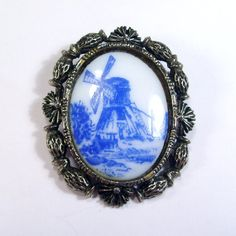 Antique vintage 1940s Delft milk glass transfer windmill Victorian brooch pendant