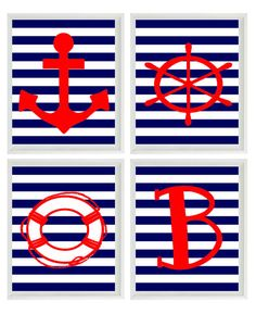 Beach Nautical Nursery Initial Art Print Set  by RizzleandRugee, $50.00