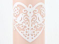 #Hochzeitskerze #Kerze #miocoloriKerzen  #DaWanda #Hochzeit #apricot #Vögel #Herz #Liebe