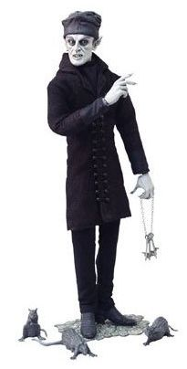 Nosferatu doll - collectors item with fine detail. Nosferatu figure in his crypt coat with a hat, keys, 3 rats and a cobblestone stand.