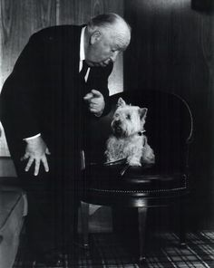 Alfred Hitchcock and a dog