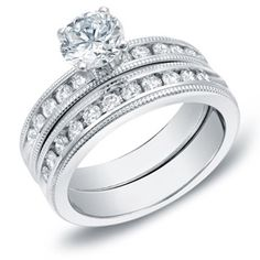 $1219.99 - 2 Carat Certified Diamond 14K White Gold Round Center Channel Set Bridal Ring Set