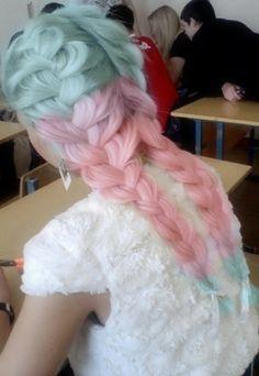 a-poisonsweetheart:  Hair / Pastel ombre blue, purple, & pink braided hair en We Heart It.