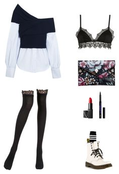 """""""difficult☹️"""" by liu-jianmeng on Polyvore featuring Jacquemus, Boohoo, Dr. Martens, La Perla, Ermanno Scervino Lingerie, Alexander McQueen and NARS Cosmetics"""