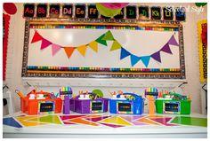 Happy Rainbow Chalkboard by Schoolgirl Style www.schoolgirlstyle.com #classroom decor #classroom theme #rainbow #chalkboard #school #bulletin board #back-to-school First Grade Classroom, New Classroom, Classroom Setting, Classroom Themes, Kindergarten Classroom, Classroom Organization, Organization Ideas, Classroom Displays, Classroom Management