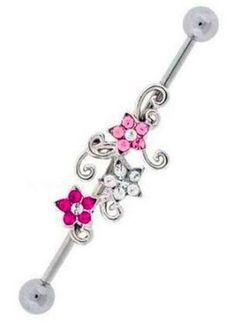 Elegant 14g Industrial Barbell Pink CZ Gems Flower Vine Gem Swirl Steel Cute | eBay