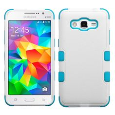 MYBAT TUFF Hybrid Samsung Galaxy Grand Prime Case - White/Teal