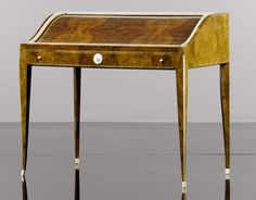 Jacque-Emile Ruhlmann Art Deco Desk in burl walnut and mother of pearl detail