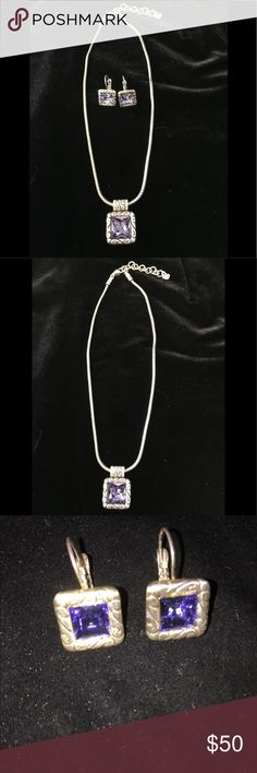 "Brighton Necklace and Earring Set. Purple. Lovely Brighton Necklace and Earring Set in the Gorgeous Purple color!  Necklace is 16"" to 18"" long. Earrings have a 1"" drop.  Excellent Condition. Brighton Jewelry Necklaces"