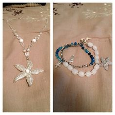 Necklace and hand made bracelet. Beautiful star fish necklace and a handmade(by me) ocean inspired, three wrap bracelet. Bracelet has two starfish and one sea horse. Hard to let these go but someone else will use them more then me Jewelry Bracelets