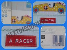 """Next Blue Racing Car Pencil Pleat Blackout Curtains 117cm (46"""") x 137cm(54"""")"""