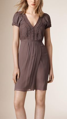V-neck Silk Dress Mink Grey | Burberry