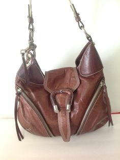 Franceso Biasia  Cowhide Leather Brown Bag Purse Designer Fahion Fringes Hobo