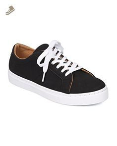 Women Nubuck Low Top Sneaker - Casual, Everyday, Lounge - Lace Up Sneaker - GD63 By Qupid - Black (Size: 9.0) - Qupid sneakers for women (*Amazon Partner-Link)