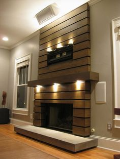 slatted fireplace surround and mantle