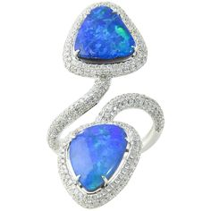 Opal Diamond Crossover Gold Ring | From a unique collection of vintage cocktail rings at https://www.1stdibs.com/jewelry/rings/cocktail-rings/