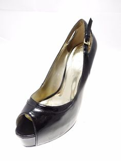 GUESS High Platform Open Toe High Heels Black Size 7.5 M #GUESS #PlatformsWedges