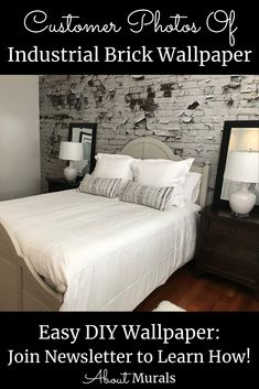 See how this Industrial Brick Wallpaper creates a gritty, urban feel on customer's walls. The realistic looking design is printed on removable wallpaper. Brick Wallpaper Bedroom, White Brick Wallpaper, Diy Wallpaper, Bedroom Wall, Peeling Paint, Looks Chic, Your Space, Easy Diy, How To Remove
