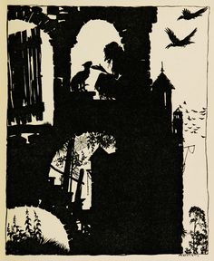 Silhouette art by Arthur Rackham, from The Sleeping Beauty, published circa 1920.