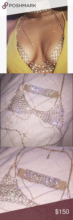 Diamond Choker and Bralette with body chain As seen on Desi Perkins. Will fit a small/ medium WINDSOR Intimates & Sleepwear Bras