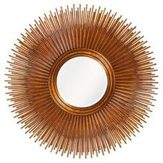 Sunburst wall mirror.   Product: MirrorConstruction Material: Resin and mirrored glassColor: CopperDimensions: 50 Diameter x 2 D
