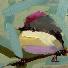 Ruby Crowned Kinglet no. 21 Original Bird Oil Painting by Angela Moulton pre-order