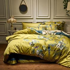 DOUBLE BED COMPLETE SET GOLDEN MUSTARD YELLOW EMBROIDERED DETAILING POLYCOTTON