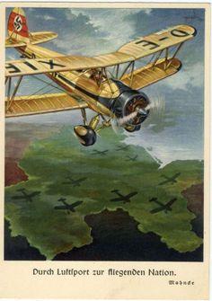 """1941, ungebr. farbige Prop.-Ak NS Fliegerkorps mit Doppeldecker """"Durch Luftsport...German postcard"""