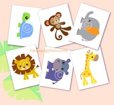Jungle Safari Animal Printable Mini Party Kit - - Editable Text Printable PDF-You type in the text to personalize. Complete Set 0050. $10.00, via Etsy.