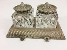 Back in the day, these beautiful #inkwells graced the desks of gentlemen and gentlewomen! Antique 1920's Double Bronze Inkwell #Fostoria Colony Swirl Glass