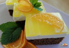 Tento tvarohový koláč s pomarančovým želé patrí v našej rodine medzi top desiatku. Či ho upečiem na jar, či v zime, stále mi pripomína letné dni. Je svieži, ľahký, doplnený ovocím vonia úžasne Pudding, Desserts, Food, Tailgate Desserts, Deserts, Custard Pudding, Essen, Puddings, Postres